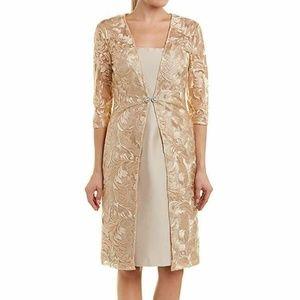 Kay Unger 3/4 Sleeves Embellished Sheath Dress